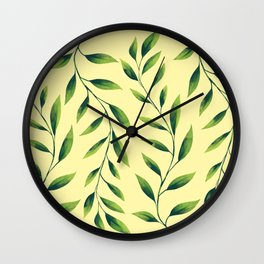Green Leaves Pattern Wall Clock