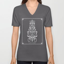 La Vie + La Mort: White Ink Unisex V-Neck