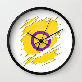 Yellow Intersex Pride Flag Ripped Reveal Wall Clock