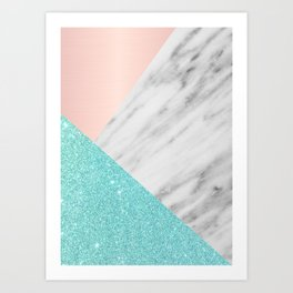 Real Italian Marble with Pink and Blue Art Print