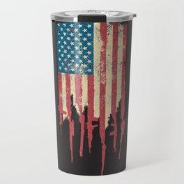 Distressed United States of America USA Flag Grunge Guns Travel Mug