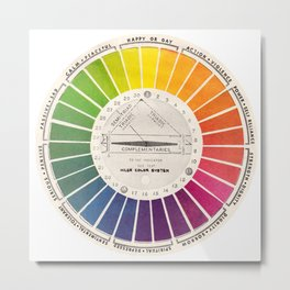 Vintage Color Wheel - Art Teaching Tool - Rainbow Mood Chart Metal Print