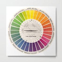 Vintage Color Wheel - Art Teaching Tool - Rainbow Mood Chart Metal Print