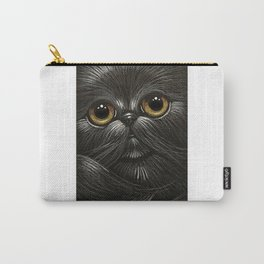 BLACK PERSIAN CAT w GOLDEN EYES Carry-All Pouch
