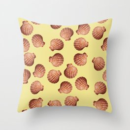Yellow Big Clam pattern Illustration design Throw Pillow