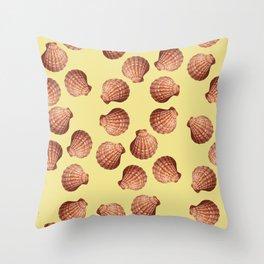 Yellow Big Clam pattern Illustration design Throw Pillow