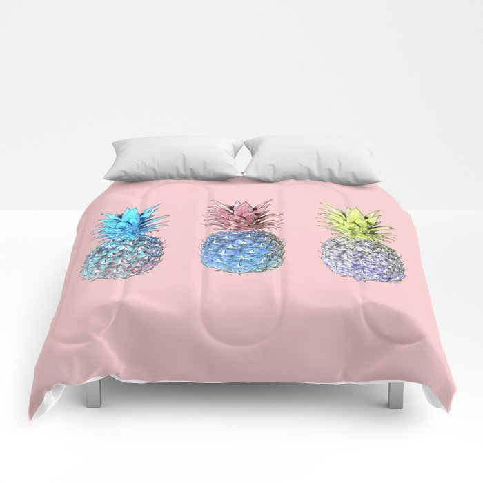 Haha pineapples Comforters