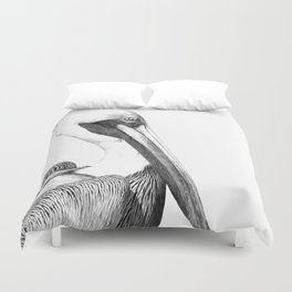 Black and White Pelican Duvet Cover