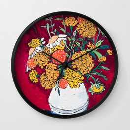 Marigold, Daisy and Wildflower Bouquet Fall Floral Still Life Painting on Eggplant Purple Wall Clock
