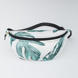 Turquoise Palm Leaves on White Wood Fanny Pack