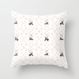 Festive Cute and Orange Christmas Embroidery Snowmen Throw Pillow