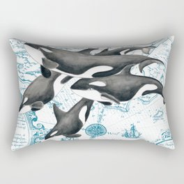 Orca Whales Family Blue Vintage Map Rectangular Pillow