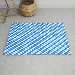 Bavarian Blue and White Diamond Flag Pattern Rug
