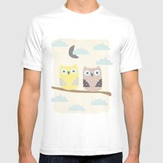 owls on a branch White MEDIUM Mens Fitted Tee