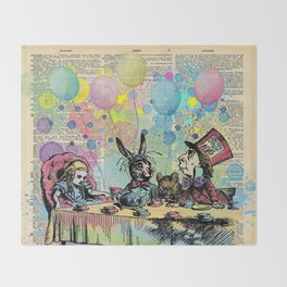 Tea Party Celebration - Alice In Wonderland Throw Blanket