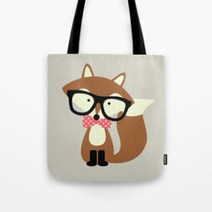 Glasses and Bow Tie Hipster Brown Fox Tote Bag