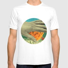 wake up and smell the flowers MEDIUM Mens Fitted Tee White