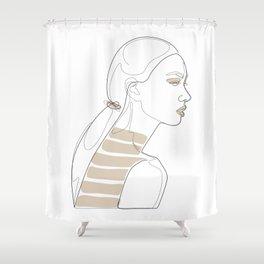 In Cream Lines Shower Curtain