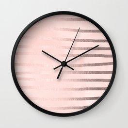 Rose Gold Pastel Pink Drawn Stripes Wall Clock