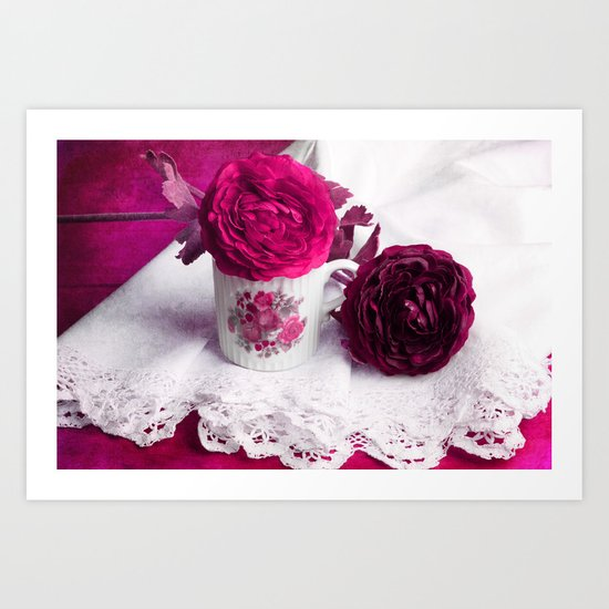 Still life with paper flowers Art Print