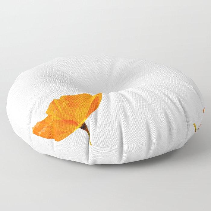 One And Only - Orange Poppy White Background #decor #society6#buyart Floor Pillow