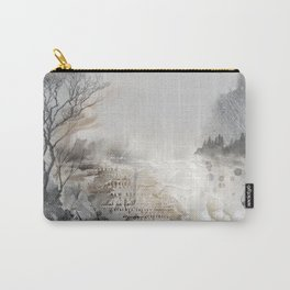 Bleak Beauty - Abstract Landscape in Charcoal Grey, Ivory and Taupe Carry-All Pouch