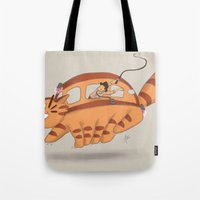 indiana jones Tote Bags featuring Indiana Jones Riding Catbus by Aimee Zhou