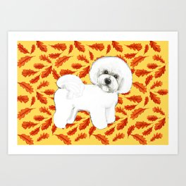 Bichon Frise in Fall Leaves Art Print