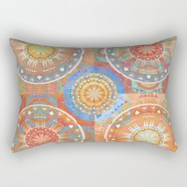Healing Color Therapy Orange Ombre Glow Boho Print Rectangular Pillow