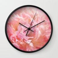 peony Wall Clocks featuring Peony by KunstFabrik_StaticMovement Manu Jobst
