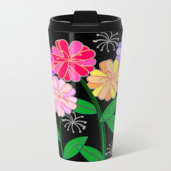 Plasticine Flowers with Dandelion Seed Metal Travel Mug