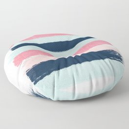 Striped painted coral mint navy pink pattern stripes minimalist Floor Pillow