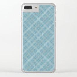 Christmas Icy Blue Velvet Diagonal Tartan Check Plaid Clear iPhone Case