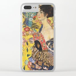 Gustav Klimt Lady With Fan  Art Nouveau Painting Clear iPhone Case