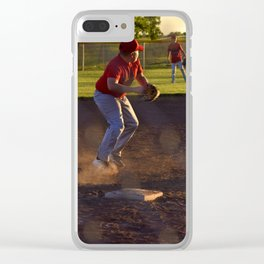 Baseball Action Clear iPhone Case