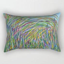 Tropical Green Abstract, Seagrass Color Study, Contemporary Colorful Home Decor Rectangular Pillow