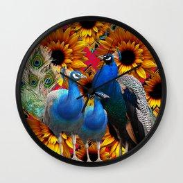 ORNATE BLUE PEACOCKS & GOLDEN SUNFLOWERS Wall Clock
