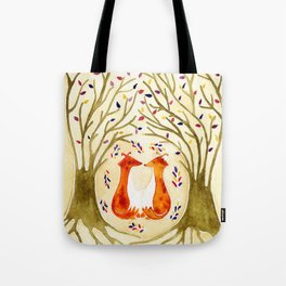 Two Foxes Meet In The Trees Tote Bag