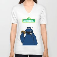 cookie monster V-neck T-shirts featuring Cookie Monster by M.REYES