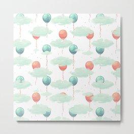 Modern coral teal watercolor clouds balloons pattern Metal Print