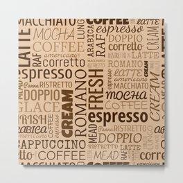 Coffee words pattern Metal Print