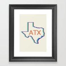 ATX Austin, Texas Retro Neon Lights Framed Art Print