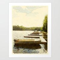 Lily Bay Docks, Maine Art Print