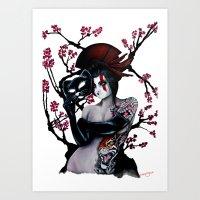 Geisha girl - Tiger  Art Print