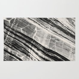 Abstract Marble - Black & Cream Rug