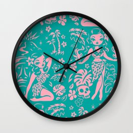 Tiki Temptress in Pink and Turquoise Wall Clock