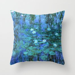 Claude Monet Water Lilies BLUE Throw Pillow