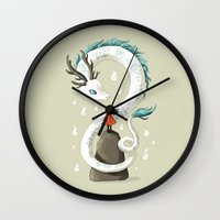 spirit Wall Clocks featuring Dragon Spirit by Freeminds