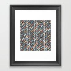 Herringbone Blue and Black #3 Framed Art Print