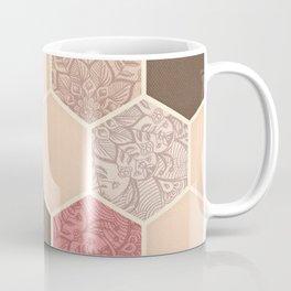 Caramel, Cocoa, Strawberry & Cream Hexagon & Doodle Pattern Coffee Mug